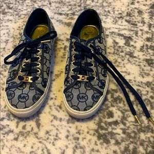 Michael Kors navy blue and gold sneakers